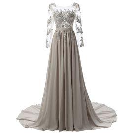 4626ceecb9553 Robe De Soirée Femme Manche Longue Robe De Bal Dress De Mariage Parti  Longue Soirée Formelle